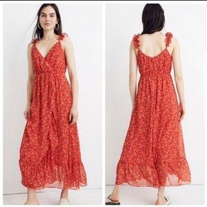 Madewell Ruffle Strap Metallic Wrap Dress NWT
